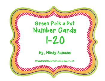 Green Number Cards 1-20 (FREE)