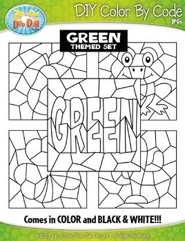 Green Objects Color By Code Clipart {Zip-A-Dee-Doo-Dah Designs}