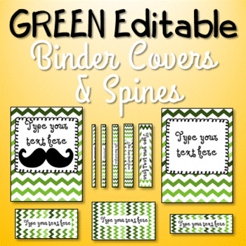EDITABLE Binder Cover and Spines - Green Ombre Mustache and Non-Mustache