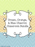 Green, Orange, & Blue Chevron Classroom Bundle