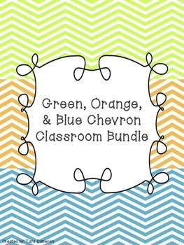 Green, Orange, & Blue Chevron Classroom Bundle