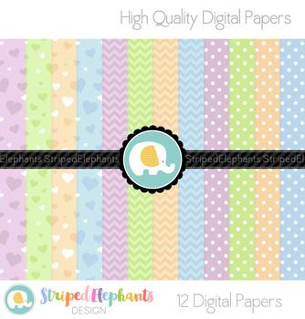 Green, Orange, Blue and Purple Digital Papers