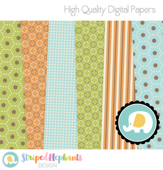 Green, Orange and Blue Digital Papers