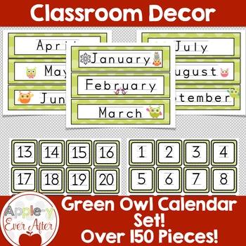 Green Owl Calendar Package -150 CUTOUTS!
