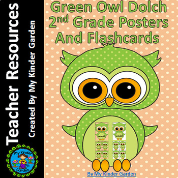 Green Owl  Dolch 2nd Grade High Frequency Sight Word Flashcards & Posters