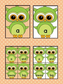Green Owl  Dolch Pre-Primer High Frequency Sight Word Flashcards and Posters