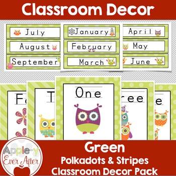 GREEN PolkaDot OWL Classroom Decoration