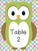 Green Owl Table Numbers