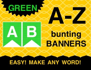 Green Pennants Bunting Banner A-Z Alphabet Letters