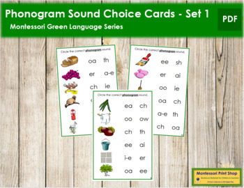 Green: Phonogram Sound Choice Cards - Set #1