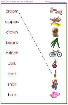 Green: Phonogram Word and Picture Match - Set 1