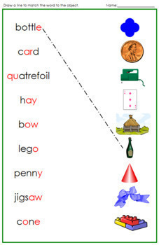 Green: Phonogram Word and Picture Match - Set 2