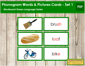 Green: Phonogram Words and Picture Cards (Set 1) - Real Pictures