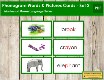 Green: Phonogram Words and Picture Cards (Set 2)