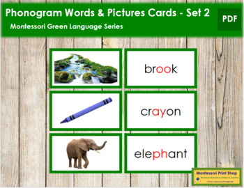 Green: Phonogram Words and Picture Cards (Set 2) - Real Pictures
