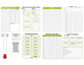 Green & Pink Chevron Teacher Binder 2017-2018 Editable Binder Covers & Calendars
