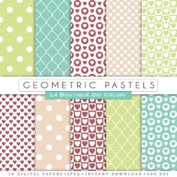 Green & Pink Geometric Digital Paper, scrapbook backgrounds