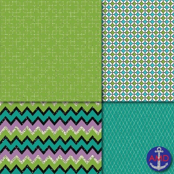 Green, Plum & Glitter Digital Paper Pack