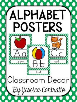 Green Polka Dot ABC Posters
