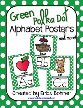 Green Polka Dot Alphabet Posters and More!