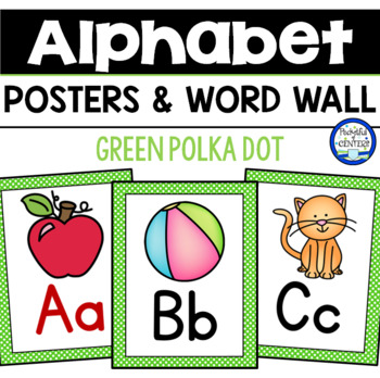 Green Polka Dot Alphabet Posters & Word Wall Cards