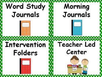 Polka Dot Classroom Labels - Green