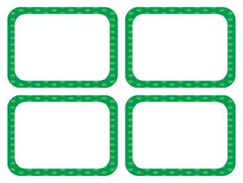 Green Polka Dot Classroom Labels (Editable)