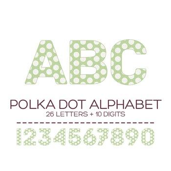 Green Polka Dot Digital Alphabet