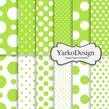 Green Polka Dot Digital Scrapbooking Paper Set, 12 Digital Paper Sheets