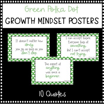 Green Polka Dot Growth Mindset Posters