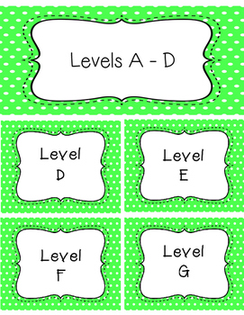 Green Polka Dot Labels for Guided Reading Baskets