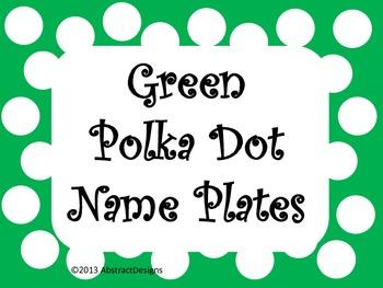 Green Polka Dot Name Plates