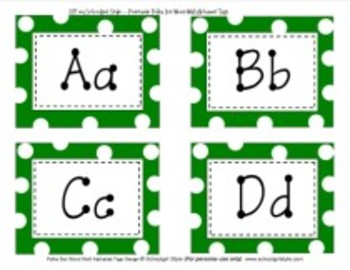 Word Wall Green Polka Dot Alphabet Tags Classroom Decor