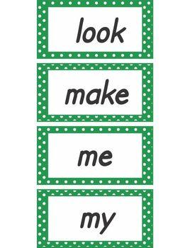 Green Polka Dot Word Wall Words Pre-primer