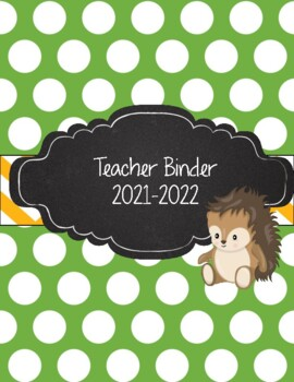 Green Polka Dot, Yellow Chevron, Hedgehog Teacher Binder