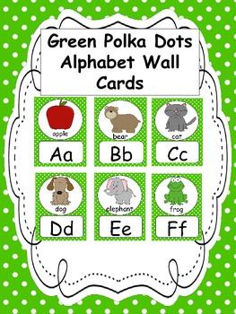 Green Polka Dots Alphabet Wall Cards
