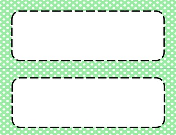 Green Polka Dots Classroom Labels and Tags