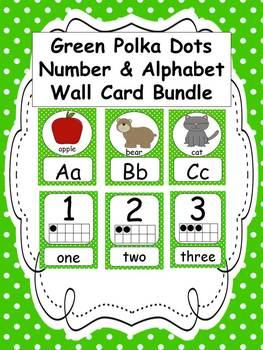 Green Polka Dots Number and Alphabet Cards BUNDLE