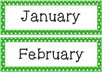 Green Polka Dots Pocket Chart or Wall Calendar Set