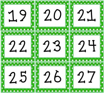 Green Polka Dots Pocket Chart or Wall Calendar Set