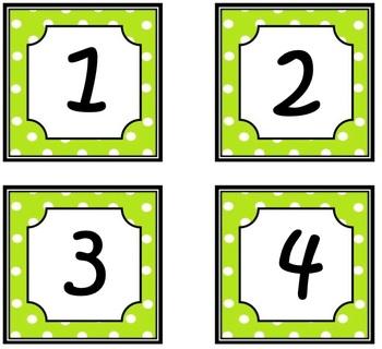 Green Polka dots Calendar numbers!