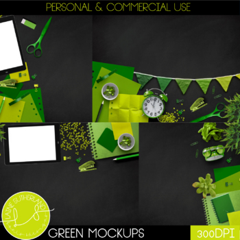 Green Primary Brights Style Mockups