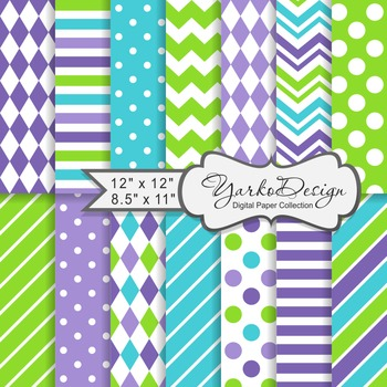 Green Purple And Turqoise Geometric Digital Paper Set, 14 Digital Paper Sheets
