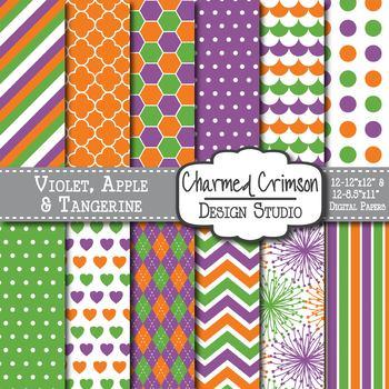 Green, Purple, and Orange Trio Digital Paper 1228