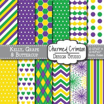 Green, Purple, and Yellow Trio Digital Paper 1223