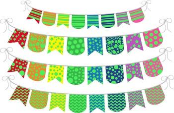 Green Rainbow Banner - Digital Clip Art (136)