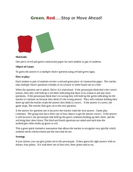 Green, Red...Stop or Move Ahead!  Review Game