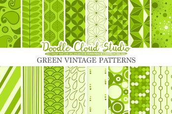 Green Retro digital paper, Geometric Vintage patterns, Green digital backgrounds