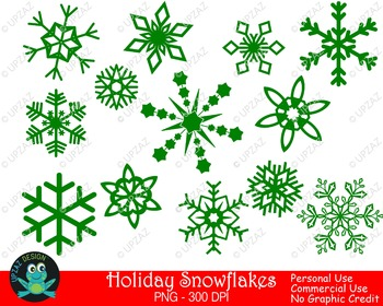 Green Snowflakes {Upzaz Digital Clipart}