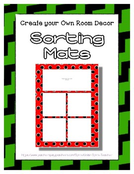 Green Sorting Mat Frames * Create Your Own Dream Classroom / Daycare *
